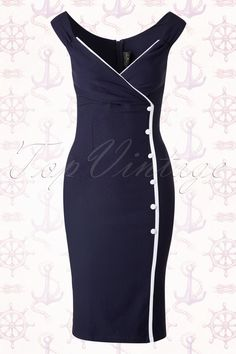 New collection ~ This 50s Lilly Pencil Dress in Navy by Rock Steady Clothing will give you that beautiful hourglass figure, oh la la!Many marine will twist their neck when you walk along the Harbour of Marseille wearing this beauty... Beautifully fitted top featuring a V-neckline, wide shoulder straps and pleating at the bust for a stunning cleavage. The striking contrasting white piping and fake buttons at the front finishes it off completely. Made of a soft stretchy curve hugging...