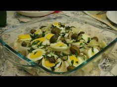 Cação assado com batatas e brócolis