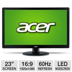"This monitor offers you a 23"" screen with a 1920 x 1080 resolution, 16:9   widescreen display format and a 5ms response time for accurate color. With the Acer 23"" Class Widescreen LED Backlit Monitor you get a 60Hz screen refresh rate and HDMI and VGA input. This widescreen   monitor is Energy Star certified giving you up to 50% less power   consumption for energy saving."