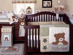 Kidsline B Is For Bear Sage 4 Piece Baby Crib Bedding Set