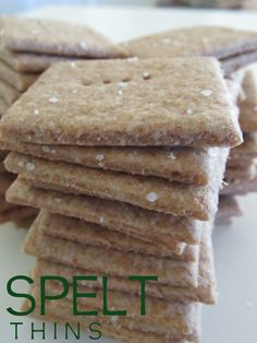 Spelt Thins - Get it? Like Wheat Thins, only Spelt. Spelt is the original wheat used for hundreds of years until the early when some farmers/engineers got the Spelt Recipes, Flour Recipes, Vegan Recipes, Snack Recipes, Cooking Recipes, Alkaline Recipes, Alkaline Diet, Candida Recipes, Vegan Snacks