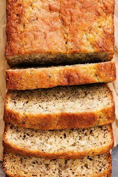 Super moist, healthier Greek Yogurt Banana Bread with absolute perfect flavor! | Creme de la Crumb