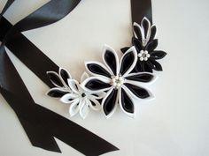 Kanzashi Necklace Black White Kanzashi Flowers Necklace by Ivanna, $37.00