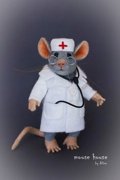 Needle Felted Doctor Mouse with Stethoscope Physician Gift for Doctor Graduation Nurse Mouse Medical Ornament Scientist Lab Grey Rat Needle Felted Animals, Felt Animals, Needle Felting, Felt Mouse, Cute Mouse, Stethoscope, Soft Sculpture, Needlepoint, Art Dolls