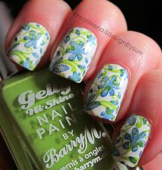 The Nail Challenge Collaborative-Double Stamp Flowers - Creative Nail Design by Sue