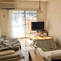 oikskさんの、男部屋,布団,シンプル,一人暮らし,ナチュラル,無印良品,賃貸,こたつ,部屋全体,のお部屋写真