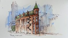 Line and Wash Watercolor Demonstration. Flatiron Building. Just 3 colors...