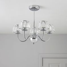 Waldor Faceted Glass Silver Chrome Effect 5 Lamp Ceiling Light
