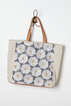 """- By Jasper & Jeera - Two inner pockets  - Magnetic snap closure - Linen, leather; linen lining - 14""""H, 14.5""""W, 4.75""""D - 7.5"""" strap drop  - Imported"""