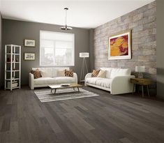 """Industrialize your living room with the Brooklyn 6 1/2"""" Birch Hardwood in Verrazano. This dark hardwood floor has a hand-scraped surface texture and micro-beveled edges to conceal wear and tear. Its rustic nature makes it perfect for an Industrial Living room. This engineered hardwood starts at $3.99 SQ FT."""