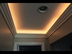 Narrow Tray Ceiling Illuminated With Rope Lighting And Designed With Crown Molding : Subtle Tray Ceiling Lighting Ideas - Ceiling Lights - Ideas of Ceiling Lights Ceiling Crown Molding, Diy Crown Molding, Moldings And Trim, Chandelier Design, Ceiling Design, Lighting Design, Lighting Ideas, Modern Lighting, Ceiling Ideas