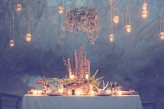 Rustic Wedding Table with Hanging Candles by Forevermore Events & Gideon Photography - mazelmoments.com