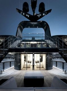 Luxury yacht interior.