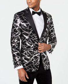 Tallia Men's Slim-fit Sequin Dinner Jacket In White Mens Sport Coat, Sport Coats, Dinner Jacket, Crew Shop, Plus Size Activewear, Slim Man, Baby Clothes Shops, Trendy Plus Size, Mens Fitness
