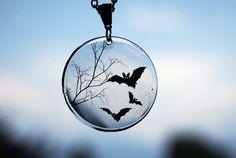 Midnight Bats - handmade transparent resin pendant.
