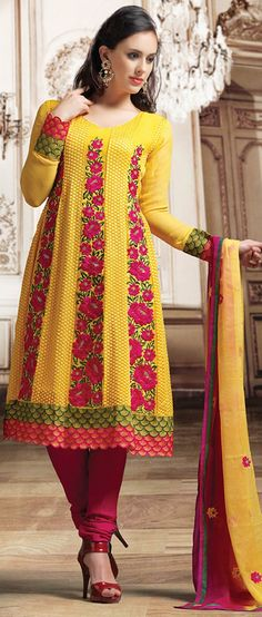 #Yellow Faux #Georgette Churidar Kameez @ $128.21