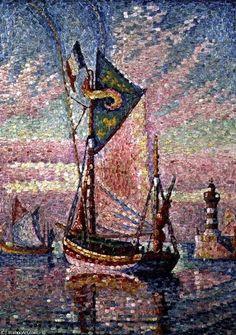 Paul Signac >> Der Hafen von Concarneau  |  (öl, Gemälde, Reproduktion, Kopie, Gemälde).
