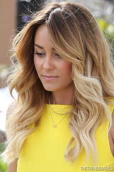 Love her hair color blonde, hair colors, summer hair, ombre hair, curl, laurenconrad, wave, hairstyl, lauren conrad