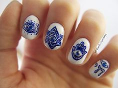 Rad Jewy-Good-Luck nail art! Artist was inspired by her trip to Israel.