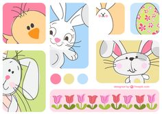 Doodle Easter Bunny Vector Cards