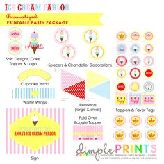 Classic Ice Cream Deluxe Printable Party Package - Dimple Prints Shop