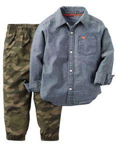 2-Piece Chambray Shirt & Jogger Set