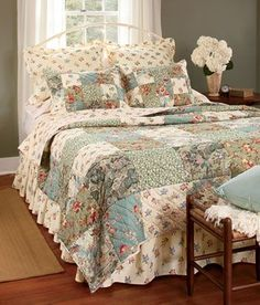 Your favorite Country Curtains now at The Vermont Country Store - Rosalie Patchwork Quilt and Bedding Collection – Country Curtains® - Shabby Chic Curtains, Country Curtains, Shabby Chic Bedrooms, Diy Curtains, Cozy Bedroom, Bedroom Decor, Floral Curtains, Cheap Curtains, White Curtains