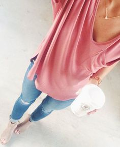 pink shirt + jeans