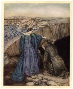 Merlin is lured by the evil fairy Vivien in her home - Arthur Rackham