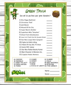 Buy Saint Patricks Day Green Trivia Printable Part St Patrick's Day Trivia, Trivia Games, Party Games, St Patricks Day Quotes, St Patricks Day Food, Saint Patricks, St Patrick's Day Games, St Patricks Day Wallpaper, Green Characters