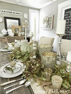 Soft, silvery greens lend a rustic, natural look to your Fall decor.