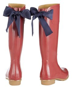 EVEDON Womens Rain Boots - real cute, id like the navy on navy - or a white bow on hunter green boots