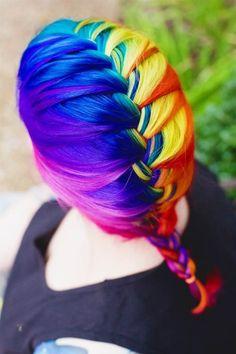 32 Rainbow Hair Styles- omg the rainbow hair I'm dyyyyinnnng