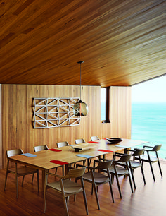 coastal home in Victoria, Australia features a stunning, eucalyptus-lined dining room overlooking the ocean. - See more at: http://www.dwell.com/rooms-we-love/article/6-formal-dining-rooms#3 -  modern fairhaven beach house blackbutt eucalyptus dining room table