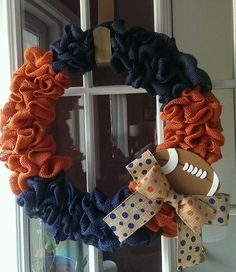 Auburn/Denver Broncos/Chicago Bears/Illinois Inspired Burlap Wreath. Handmade by Welcomes to Adore (on etsy!) and www.facebook.com/welcomestoadore