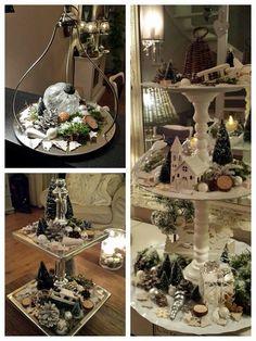 Etagere Christmas Christmas, Christmas Villages, Rustic Christmas, Xmas, Christmas Ideas, Christmas Centerpieces, Table Centerpieces, Christmas Decorations, Tray Decor