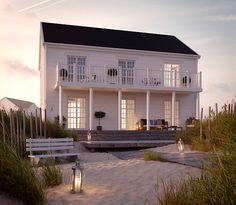 Cobb Bay - ett tvåplanshus i New Englandstil från Myresjöhus Tiny House Cabin, House With Porch, Cozy House, New England Hus, Cottage Design, House Design, Lakeside Living, Beach Cottage Style, House Goals