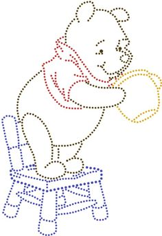 Winnie the pooh Disney String Art, Nail String Art, String Art Templates, String Art Patterns, Embroidery Cards, Embroidery Patterns, Charlie E Lola, Candlewicking Patterns, Rhinestone Crafts