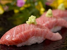 Japanese Sushi ōtoro (大とろ, pink fatty tuna)