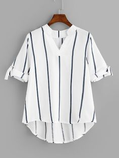 Women Casual Striped Asymmetrical Top Regular Fit V Neck Half Sleeve Pullovers White Regular Length Striped Roll Up Sleeve Dip Hem Blouse American Fighter Shirts, Casual Skirt Outfits, Mode Outfits, Fashion Outfits, Style Fashion, Roll Up Sleeves, Half Sleeves, Blouse Styles, Blouse Designs