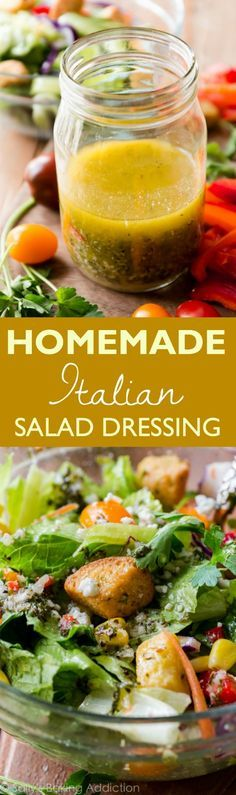 Ditch the processed stuff for this fabulously flavorful and zesty homemade Italian dressing. Pour over salads or use as a marinade. Recipe found on sallysbakingaddiction.com