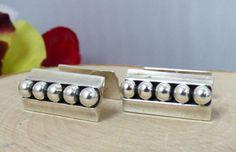 Vtg. John Lauritzen Denmark Sterling Silver Modernist Cufflinks; Bead Details!! #JohnLauritzenDenmark