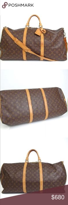 """Auth Louis Vuitton Keepall 60 Travel Bag Vintage Rare Beautiful Vintage... Exterior shows some rubs, stains, scratches, cracks on leather parts and strap. Inside has some stains. Zipper works. May have closet odor.  Size W24""""x H13'' x D10.2"""" / Strap Drop 21"""" Made in France, Date code: VI1922 (Year:1992)  %100 Authenticity verified by my partner company luxury experts.  Enjoy fast shipping and hassle free customer service from a trusted 5-star Posh Ambassador with over 1200 bags sold. Louis…"""