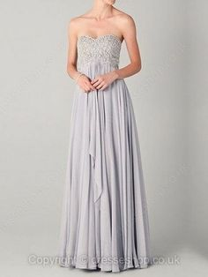 Long grey prom dress with sweetheart neckline
