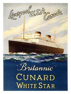 RMS Britanic, Cunard White Star Line, Artist: Samuel Brown, 1948