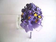 Purple Pansy Bridal/Bridesmaid Bouquet/Nosegay  Wedding by parsi