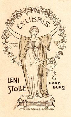 Heinrich Nernst. Ex libris para Leni Stolle.