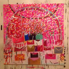 """""""Gratitude letters"""" mixed media on canvas 2014 painted by Mariko Murase"""
