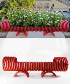 DIY PVC Pipe Planter - espaibuenrollo.blogspot.com - Jardinera reciclando tubos de pvc