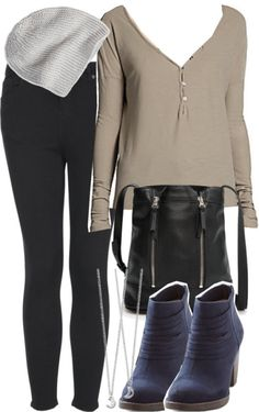 James Perse top / Topshop skinny jeans, $61 / BC Footwear short boots / MANGO long strap shoulder bag, $30 / Swarovski silver necklace / American Eagle Outfitters slouchy beanie